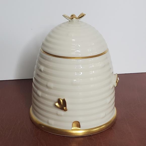 Lenox Gilded Bee Hive Honey Jar Pot